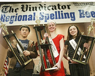 William D. Lewis The Vindicator Spelling bee champs with trophies from left, Max Lee, 2nd place, Lauren Ritz , 1 rst place and Megan Winters, 3rd place.
