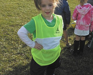 McKenna Sweeney, 6, takes a break at her first soccer practice of the season for St. Charles. Photo sent in by Marnee Sweeney.