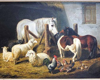 """""""Barnyard,"""" an oil-on-board painting by Arthur Fitzwilliam Tait, was purchased by The Butler in 1948."""