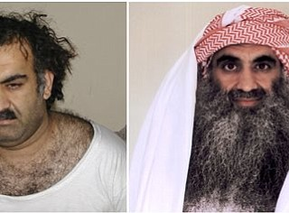 At left a March 1, 2003 photo obtained by the Associated Press shows Khalid Sheikh Mohammed, the alleged Sept. 11 mastermind,  shortly after his capture during a raid in Pakistan. At right, a photo downloaded from the Arabic language Internet site www.muslm.net and purporting to show a man identified by the Internet site as Khalid Sheik Mohammed, the accused mastermind of the Sep. 11 attacks,  is seen in detention at Guantanamo Bay, Cuba. The picture was allegedly taken in July 2009 by the International Committee of the Red Cross (ICRC) and released only to the detainee's family under a new policy allowing the ICRC  to photograph Guantanamo inmates, ICRC spokesman Bernard Barrett said Wednesday, Sept. 9, 2009. A federal law enforcement official says professed 9/11 mastermind Khalid Sheikh Mohammed and four alleged co-conspirators are being referred to the system of military commissions for trial.