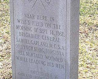 Spot near where Confederate Gen. Samuel Garland fell at Fox's Gap, South Mountain.