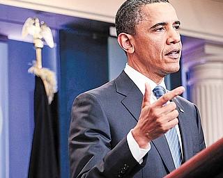 President Barack Obama speaks at the White House in Washington after meeting with House Speaker John Boehner, R-Ohio, and Senate Majority Leader Harry Reid, D-Nev., regarding the budget and possible government shutdown Thursday, April 7, 2011.