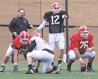 FOOTBALL - (12) Kurt Hess directs the offense Saturday morning at YSU. - Special to The Vindicator/Nick Mays