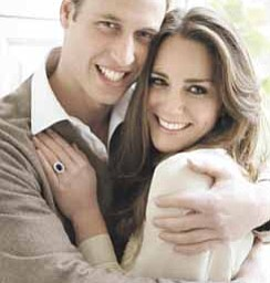 Britain's Prince William and his fiance Kate Middleton