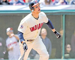 Cleveland Indians' Grady Sizemore watches his home run against the Baltimore Orioles in a baseball game Sunday, April 17, 2011, in Cleveland.
