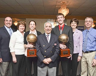 (From left to right) Marc, Debbie and Jennifer Bjelac, Sam Rogers, Jacob, Susan and John Jaros at the Curbstone Coaches banquet Sunday evening.