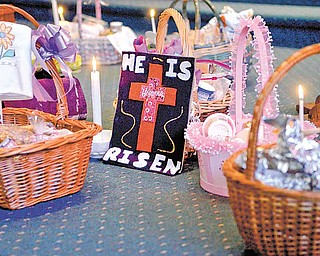 The baskets included candy, wine and Cheetos, as well as traditional Easter fare.