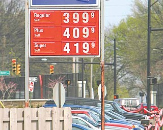 Gasoline reached $3.99 a gallon in some areas of the Mahoning Valley on Tuesday, and prices are expected to jump above $4 a gallon in some locations as early as today. This sign bore the grim news to motorists at a Sunoco station on Fifth Avenue in Youngstown.