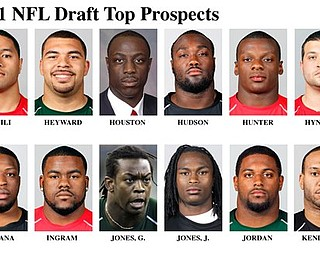 In these handout photos released by the NFL and taken in February 2011, top NFL Draft prospects are shown at the NFL Scouting Combine in Indianapolis. They are, top row from left: Stanley Havili, FB, Southern California; Cameron Heyward, DE, Ohio State;  Justin Houston, LB, Georgia; Rodney Hudson, C, Florida State; Kendall Hunter, RB, Oklahoma State; Henry Hynoski, FB, Pittsburgh. Bottom row, from left:  Benjamin Ijalana, OG, Villanova; Mark Ingram, RB, Alabama; Greg Jones, LB, Michigan State; Julio Jones, WR, Alabama; Cameron Jordan, DE, California; Lance Kendricks, TE, Wisconsin.