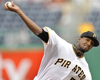 Pittsburgh Pirates starting pitcher James McDonald delivers a pitch against the San Francisco Giants during the first inning of a baseball game, Wednesday, April 27, 2011, in Pittsburgh. (AP Photo/Don Wright)