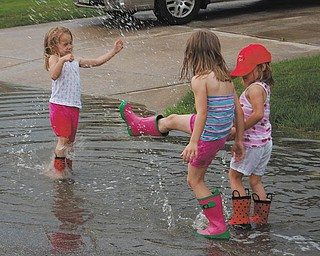 After a rainstorm in May 2010, the Jones sisters of Canfield, Lindsay, 5, Samantha, 6, and Allison, 5, have some fun splashing around and kicking up their boots!