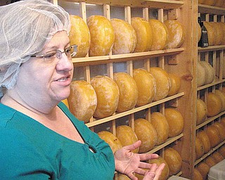 Susan Morris of Mayfield Road Creamery talks about raw-milk cheese production while showing a cooler filled with aging Gouda cheese wheels.