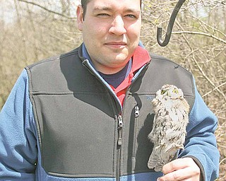 Jacob Saborse, a graduate student at YSU from Austintown, is conducting a park-authorized study of black-capped chickadees in Mill Creek Park. Here, he holds a stuffed screech owl.
