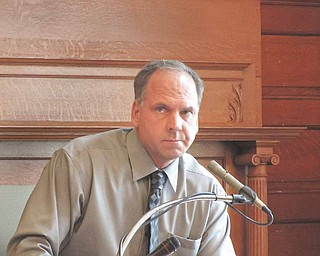 Garrick Krlich of Hubbard testifies in Trumbull County Common Pleas Court  regarding the horn-honking that he recorded outside his home in 2010  by someone in a Chevy Cavalier. Magistrate Patrick McCarthy said he  didn't find enough evidence to find that Anthony Palestro of Hubbard  was responsible for any of the honking, and a civil protection order  was denied in the case on Wednesday. McCarthy did approve a  protection order in another case that same day, however, against Nick  Bruce.