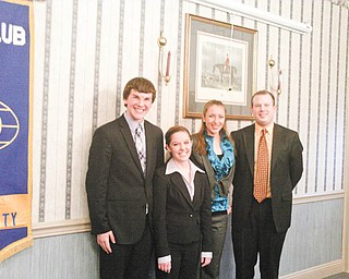Kiwanis Club of Western Mahoning County discovered that young people of today have a lot of important things to say when it invited members of the Canfield Speech Team to present the program at the a recent meeting. Representing the team at the meeting were, from left, Nathan Pecchia, Rosie Jo Neddy and Jullian Smith and their coach, Jeremy Hamilton. The team will be competing on the national level in Texas.