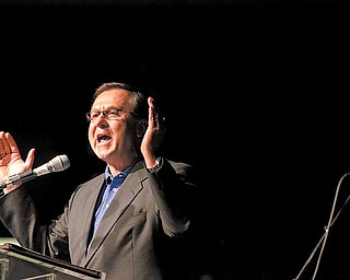 The Rev. Dave Thomas, lead pastor at Victory Christian Centre in Coitsville, spoke at the Christian rally.