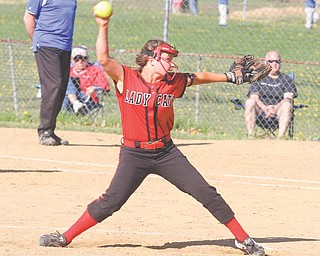 Struthers pitcher Katie Jordan fires the ball toward home plate during the Division II sectional opener Monday 