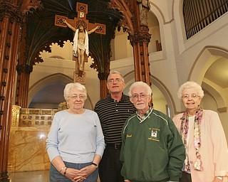 ROBERT K. YOSAY | THE VINDICATOR...St Patricks Church 100 Years old - l-r  Nancy Tyan Pat  Kerrigan Jack Doran and Sister Dorothy Zwick HM...-30-
