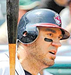 Cleveland Indians designated hitter Travis Hafner bats against the Tampa Bay Rays in a baseball game in Cleveland on Thursday,  May 12, 2011.   (AP Photo/Amy Sancetta)