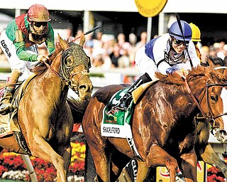 Shackleford, front right, ridden by Jesus Castanon, moves to the finish line to win the 36th Preakness Stakes horse race at Pimlico Race Course, Saturday, May 21, 2011, in Baltimore. Animal Kingdom, left, ridden by John Velazquez, took second place.
