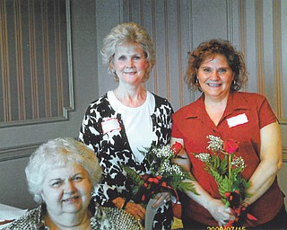 Educators initiate new members: Mu Chapter of Delta Kappa Gamma International Society for women educators met May 15 at the Youngstown Club to initiate three members, from left to right, Joan Demeny, Patti Cannatti and Marilyn Franko. Demeny was sponsored by Linda Demeny. Cannatti was sponsored by Jan Donlin, and Franko was sponsored by Darlene Malaska. A Founders Day Tribute followed the initiation.