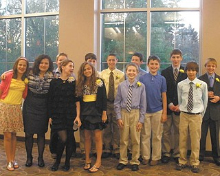 Students in sixth, seventh and eighth grades were honored recently at the Principal's Academic Honors Banquet at Holy Family School. Sixth-graders honored are, front row, from left to right: Olivia Christopher, Isabella Ricottilli, Kirsten Joss, Morgan Wardle, Robert Kurta, Michael Masternick and Alex Wollet. Back row, from left, Jacob Ovaska, Patrick Brennan, Christopher Perry, James Raymer, Christopher Lewis and Anthony Zeno. Those who were honored but are not pictured are Nathan Keller and Tessa Snider.