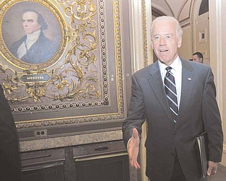 Vice President Joseph Biden arrives for a Budget meeting on Capitol Hill in Washington, Thursday, May 26, 2011. (AP Photo/Harry Hamburg)