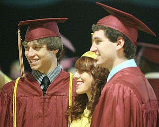 ROBERT  K.  YOSAY  | THE VINDICATOR --..ONE LAST MEMORY -   Preston Caldwell Madelin Kopper  and Eric Sklenar  pose for a  picture  Cardinal Mooney's 53 Annual Commencement  at Stambaugh Auditorium . -30-..(AP Photo/The Vindicator, Robert K. Yosay)