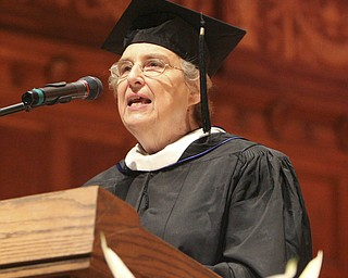 ROBERT  K.  YOSAY  | THE VINDICATOR --..Her Last commencement   Sister Jane Marie Kudlacz   -  thanks the seniors for the memories and the Mooney Family - Cardinal Mooney's 53 Annual Commencement  at Stambaugh Auditorium . -30-..(AP Photo/The Vindicator, Robert K. Yosay)
