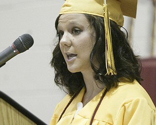 William D. Lewis The Vindicator Brooke Fusco, one of several valedictorians in the South Range HS class of 2011 gives a speech during commencement Saturday at the HS.
