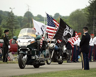 NEW CASTLE, PA - JUNE 11:  War Veterans ride in the funeral precession of Staff Sgt. Edward Mills Jr. on June 11, 2011 in New Castle, PA.  (photo by:  Justin K. Aller)