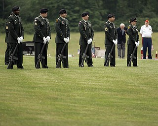 NEW CASTLE, PA - JUNE 11:  The firing squad stands in silence while the precession enters the cemetary on June 11, 2011 in New Castle, PA.  (photo by:  Justin K. Aller)
