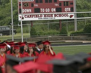 ROBERT  K.  YOSAY  | THE VINDICATOR --..Even the stadium scoreboard congratulates the class of 2011--Canfield High School 2011 graduation at the Stadium - .. -30-..(AP Photo/The Vindicator, Robert K. Yosay)