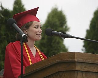 ROBERT  K.  YOSAY  | THE VINDICATOR --..Gia Maria Velasquez   addresses the class of 2011  as  valedictorian---Canfield High School 2011 graduation at the Stadium - .. -30-..(AP Photo/The Vindicator, Robert K. Yosay)