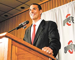 Ohio State head football coach Luke Fickell smiles while answering questions as he speaks to members of the media during a news conference Monday, June 13, 2011, in Columbus, Ohio. (AP Photo/Terry Gilliam)