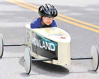 Hannah Walker of Warren zooms down 1,200 feet of West Main Street during competition, which had 40 entrants, from age 8 to 17, competing for three division championships.