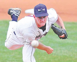 Mahoning Valley Scrappers reliever Drew Rucinski pitches to a batter from the Jamestown Scrappers during a game Sunday at Eastwood Field in Niles. The Scrappers defeated the Jammers, 5-2. Mahoning Valley faces the Batavia Muckdogs today in Niles.