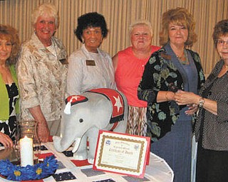 Warren GOP officers: The Warren Republican Women's Club installed officers for the upcoming season on June 2. From left to right are Marsha Hubbard, treasurer; Paula Snyder, secretary; Shelby McElravy, second vice president; Cary Ann Koren, first vice president; Barbara Rosier-Tryon, president; and Edwina Wolcott, northeast district vice president of the Ohio Federation of Republican Women, who conducted the installation.