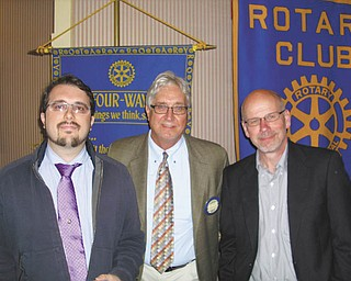 "Diaspora discussions: At a recent meeting of the Youngstown Rotary Club, speakers were Jim Cosseler and Rotarian John Slanina, both of the Youngstown Business Incubator. Their topic was ""Tracking and Engaging the Youngstown Diaspora for Economic and Service Opportunities."" Diaspora is the Greek word for residents who move away from a community and either return or still have connections to the community. A study was done by the Youngstown Incubator to indicate that this Diaspora effect is happening and will be a starting block for business revival in the Valley. From left to right are Slanina, Rotarian John Fahnert, program chairman, and Cosseler. On another note, the Rotary club welcomed Bob Calvert, assistant vice president of business banking with First National Bank in downtown Youngstown, as a new member at the meeting."