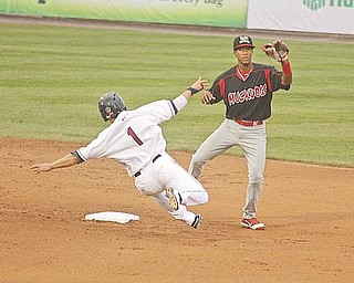 SCRAPPERS - (1) Tony Wolters of the Scrappers goes in to second hard to break up the double play as (14) Cesar Valera can't make the play Monday night at Eastwood Field. - Special to The Vindicator/Nick Mays
