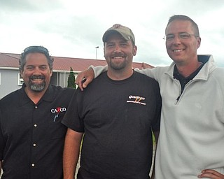 Steel Valley Super Nationals promoter Brian Cazzco, left, with new Quaker City Raceway vice president of operations Duke Fox, and Steel Valley Super Nationals promoter Corey Ward, left, gather during the event Friday.