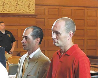 Thomas Altiere Jr., 32, of Royal Troon Drive in Warren, right, stands  in the courtroom of Judge Andrew Logan of Trumbull County Common  Pleas Court with his attorney, Gary Rich. Altiere, son of Sheriff  Thomas Altiere, pleaded guilty Tuesday to deception to obtain a  dangerous drug for using deception to obtain prescriptions for  Hydrocodone, a pain medication, from multiple doctors and multiple  pharmacies earlier this year. The Trumbull County Adult Probation  Department will determine whether Altiere qualifies for a program  that would allow him to receive drug treatment in lieu of conviction  on the charge.