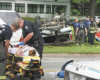 Two motorists were sent to the hospital with injuries sustained in a three-vehicle accident on the city's North Side. The accident occurred about 10:30 a.m. Tuesday on Fifth Avenue by Lora Avenue. The driver of a pick-up truck flipped his vehicle trying to stop after a two-car crash in front of him. Youngstown police didn't have any information Tuesday afternoon on the accident.