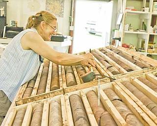 Geologist Marilyn Huff catalogs core samples taken in drilling samples near Elk Creek, Nebraska. (Scott Canon/Kansas City Star/MCT)