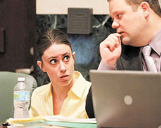 Casey Anthony talks with her attorney Will  Slabaugh towards the end of testimony in her murder trial at the Orange County Courthouse in Orlando, Fla., Friday, July 1, 2011. Casey Anthony, 25, is charged with killing her daughter Caylee in the summer of 2008. (AP Photo/Red Huber, Pool)