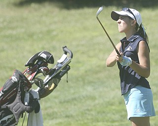 ROBERT K. YOSAY | THE VINDICATOR..Approach Shot  - Christina Cooper - looks at her fairway shot - on 2- The areaÕs best youth golfers hit the links Tuesday, trying to make a name for themselves and collect the scholarship that comes along with the success.. the kickoff to the first ÒGreatest Junior Golfer in the ValleyÓ tournament, and the first ball will be launched off the tees of the Diamond Back Golf Course in Canfield. Throughout the month, golfers under the age of 18 as of Aug. 31 will attempt to qualify and be named the best...-30-