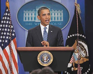 President Barack Obama makes a statement to reporters about debt-ceiling negotiations. He spoke Tuesday in the James Brady Press Briefi ng Room of the White House in Washington, D.C.