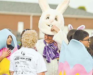 Larry Means of the team Clark's Crusaders dressed as an Easter bunny Friday at Poland's Relay for Life.
