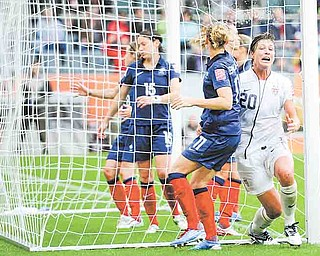 United States' Abby Wambach reacts after scoring her side's second goal during the semifinal match between France and the United States at the Women's Soccer World Cup in Moenchengladbach, Germany, Wednesday, July 13, 2011. (AP Photo/Martin Meissner)