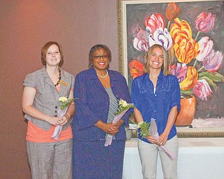 New inductees to the Youngstown Business and Professional Women's Club are, from left to right, Alesha Burns of Pulaski, Pa.; Natalie Spencer-Scott of Canfield; and Erin Mellinger of Canfield.